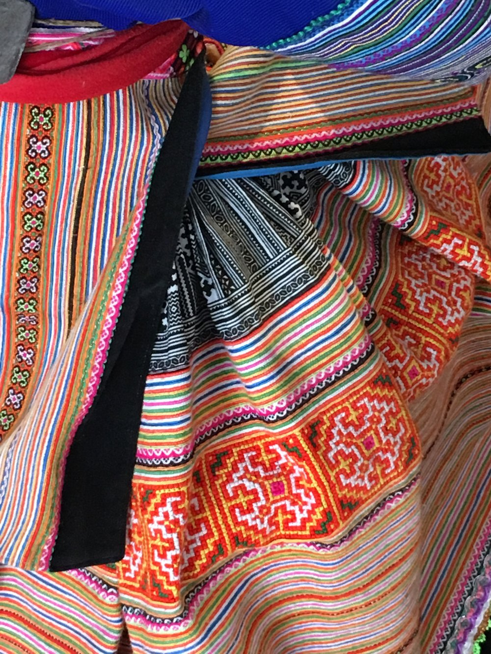 Examples of the patterns woven into the fabrics