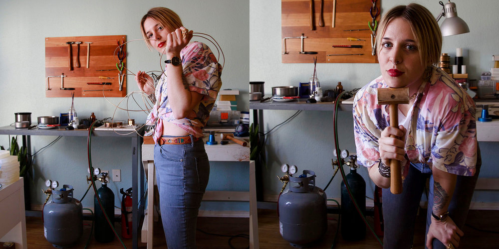 About Hannah - Hannah Parks is a metalsmith, traveler, and storyteller who shares her adventures through her jewelry – capturing the people and experiences of her trips in bold, illustrative designs that can be worn and shared for years to come.