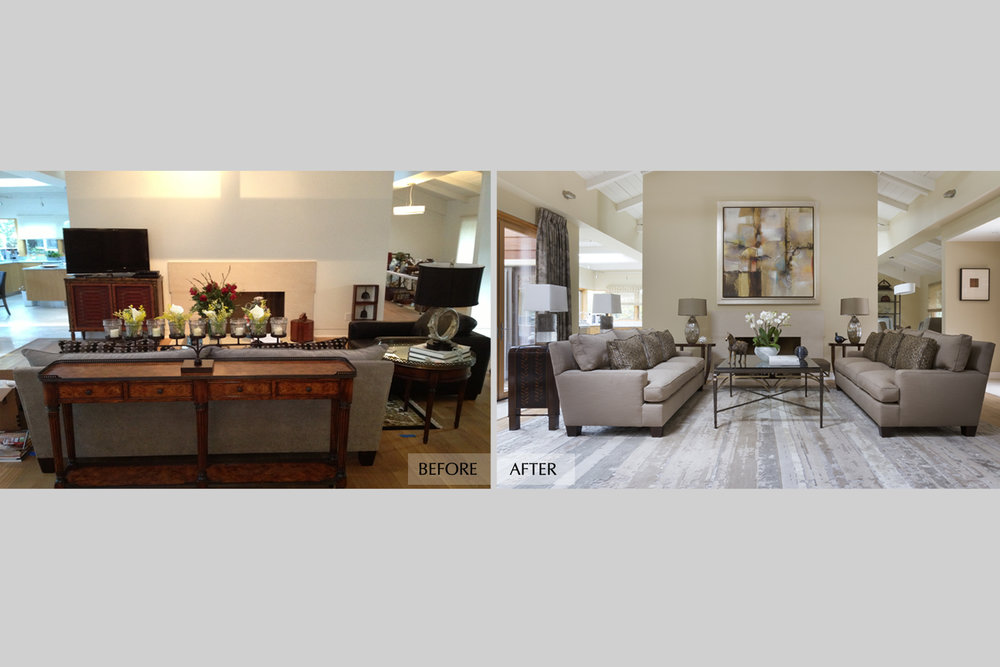 DESIGN415 | Atherton Living Room Before and After Interior Design and Decorating