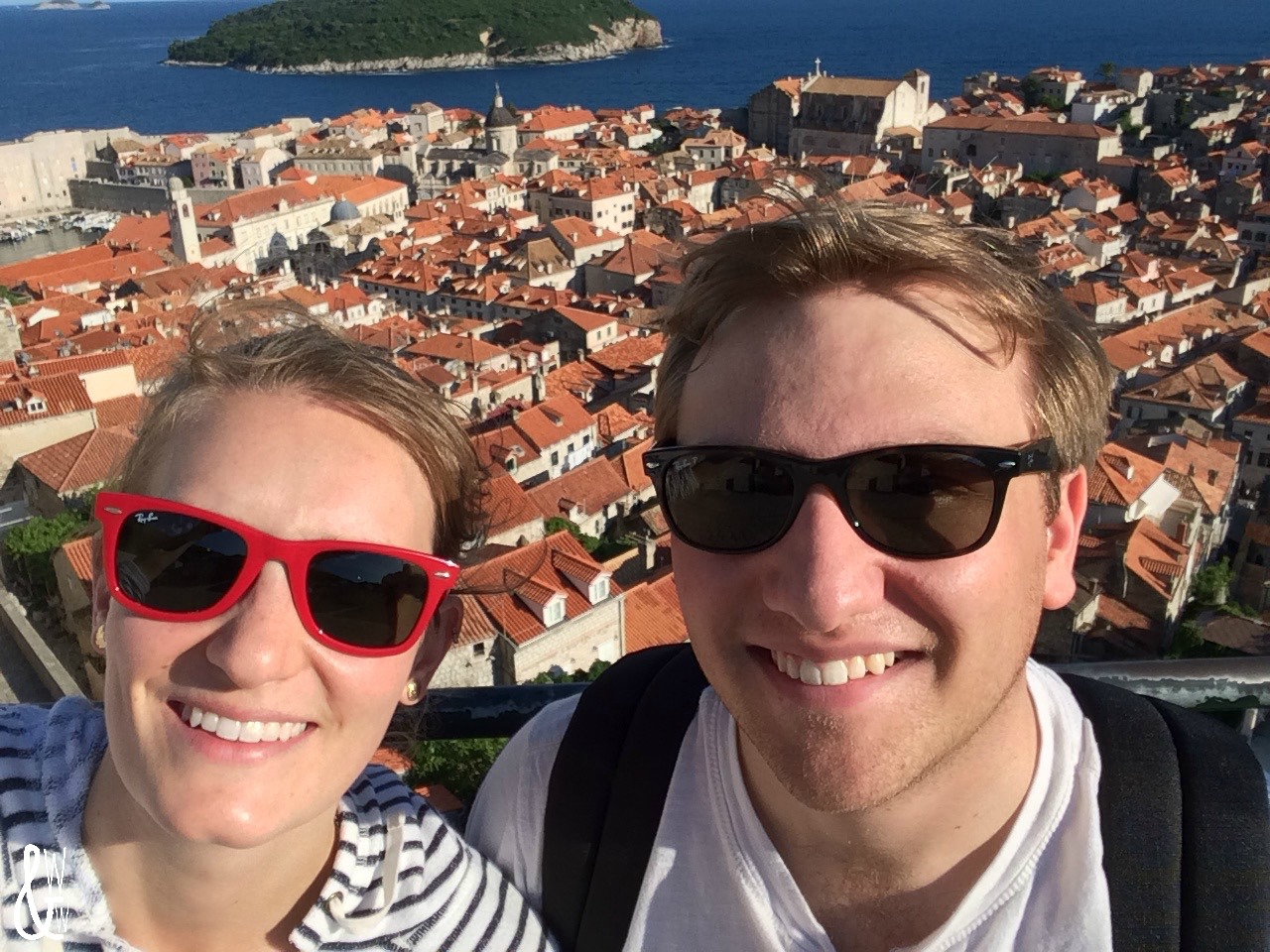 Bailey & Vince atop Dubrovnik's city walls