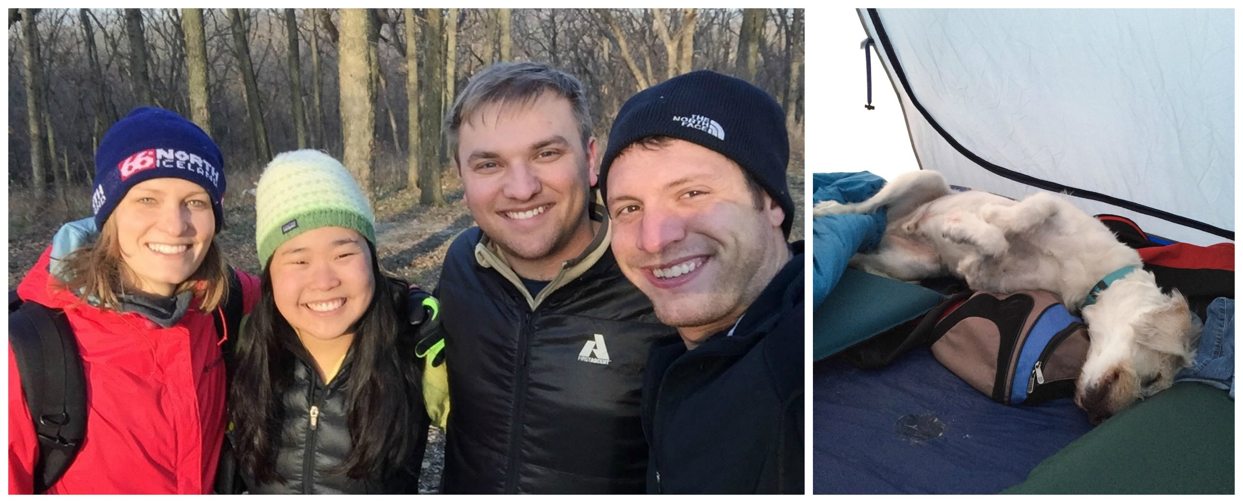 winter camping group