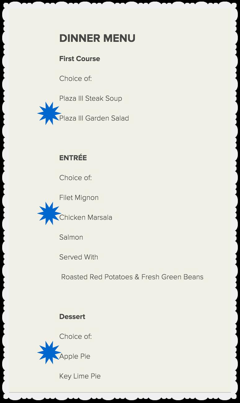 Kansas City Restaurant Week - Plaza III - Dinner Menu