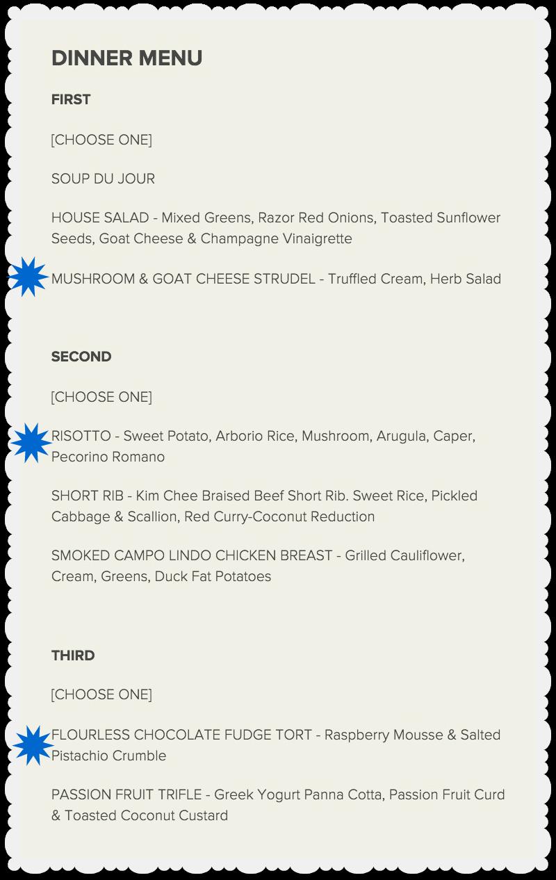 Kansas City Restaurant Week - Webster House - Dinner Menu