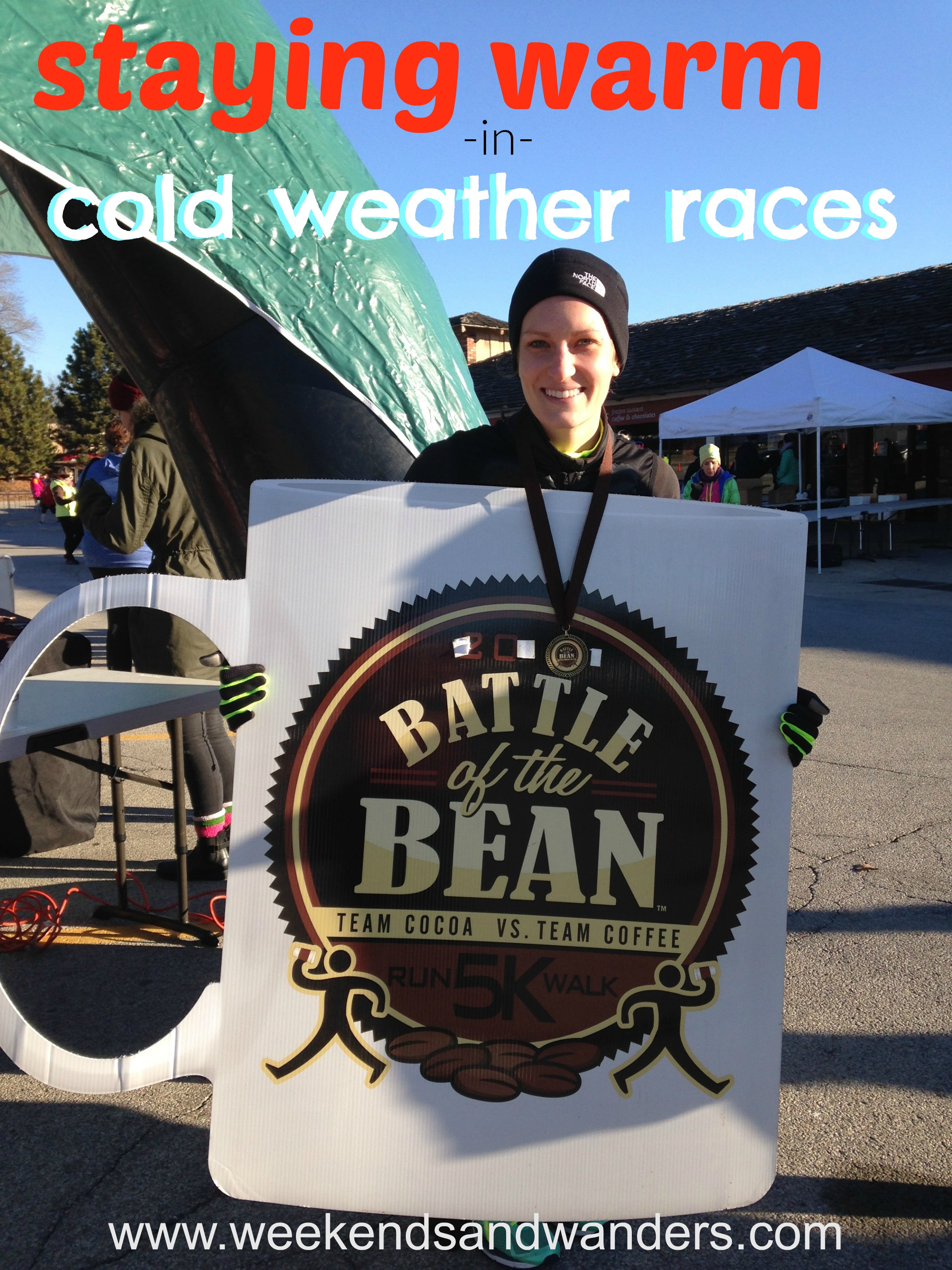 5K races in 11 degree weather? No problem! With the right gear you can stay warm and have a great time in cold weather races! Read all about it at Weekends & Wanders