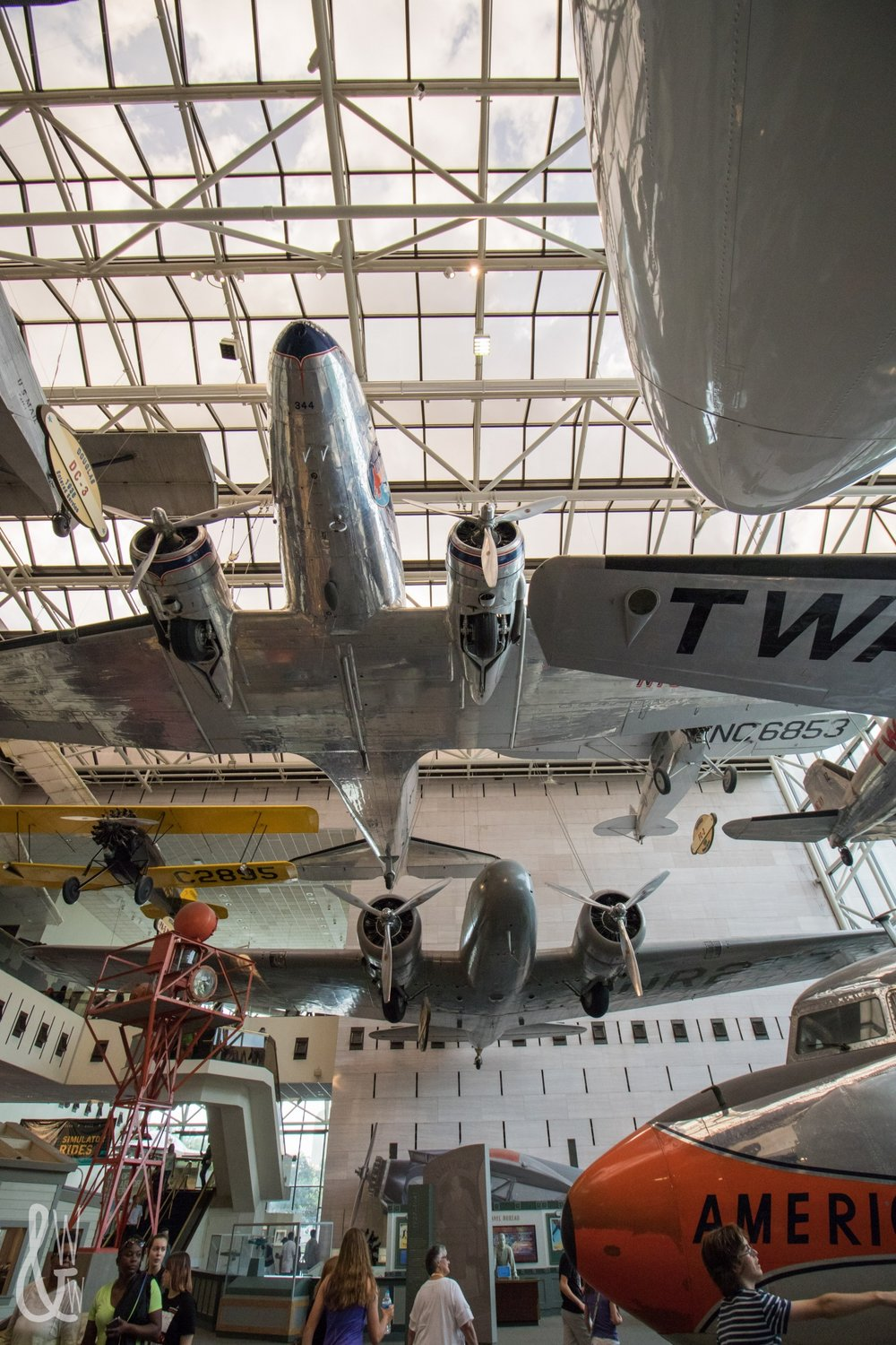 Planes suspended in the National Air & Space Museum.