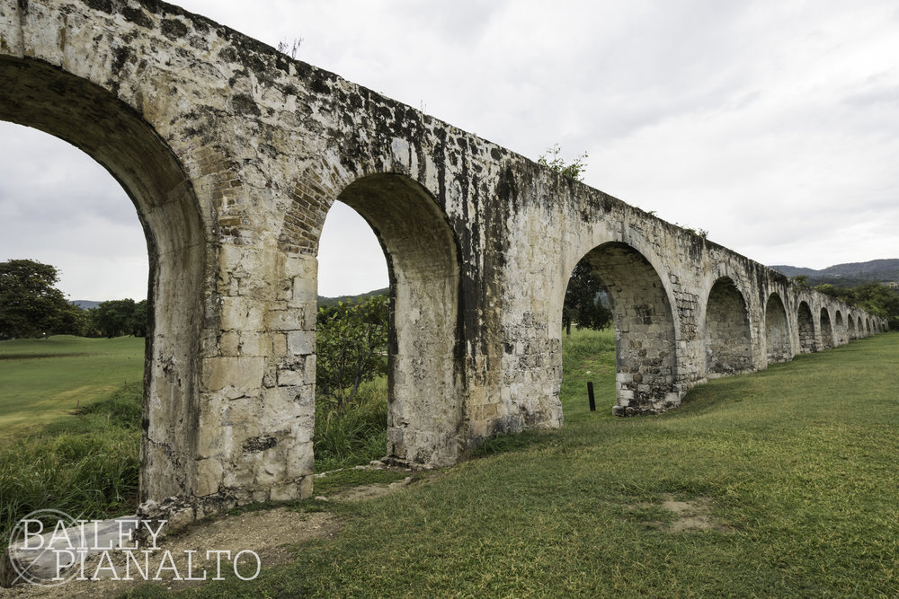 Conquering heights by climbing aqueducts in Montego Bay, Jamaica