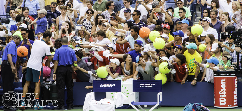 Roger Federer signing autographs at the US Open