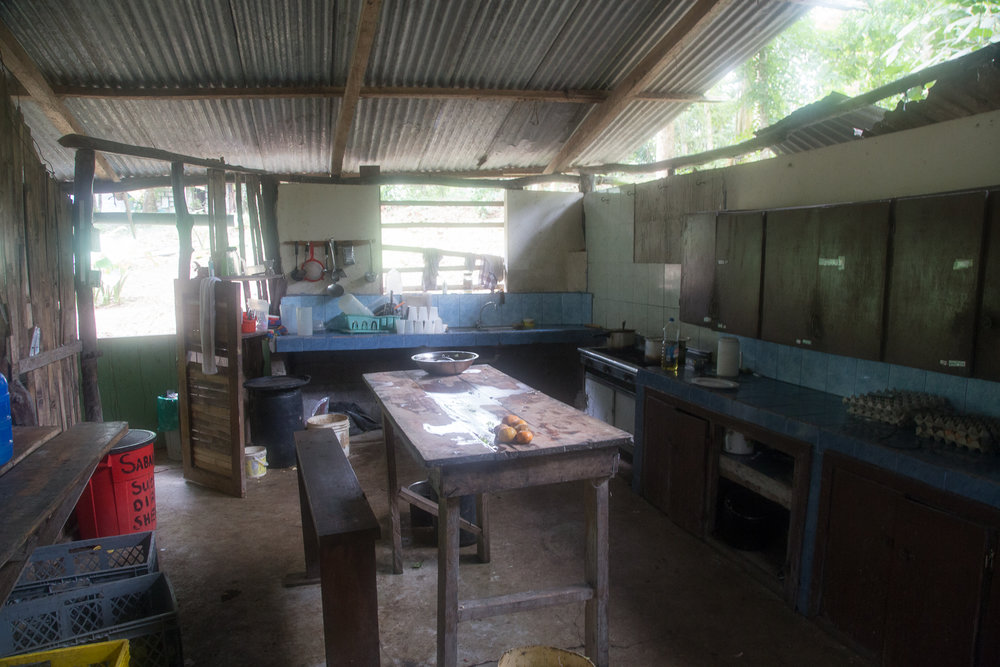 Our kitchen, where twice a week each volunteer helps Sonya prepare meals.