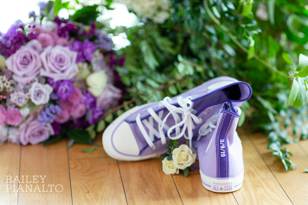 Purple & Gray Down-to-Earth Spring Wedding with Heart + Soul Floral and Converse All Stars   Uptown Theater   Kansas City, MO