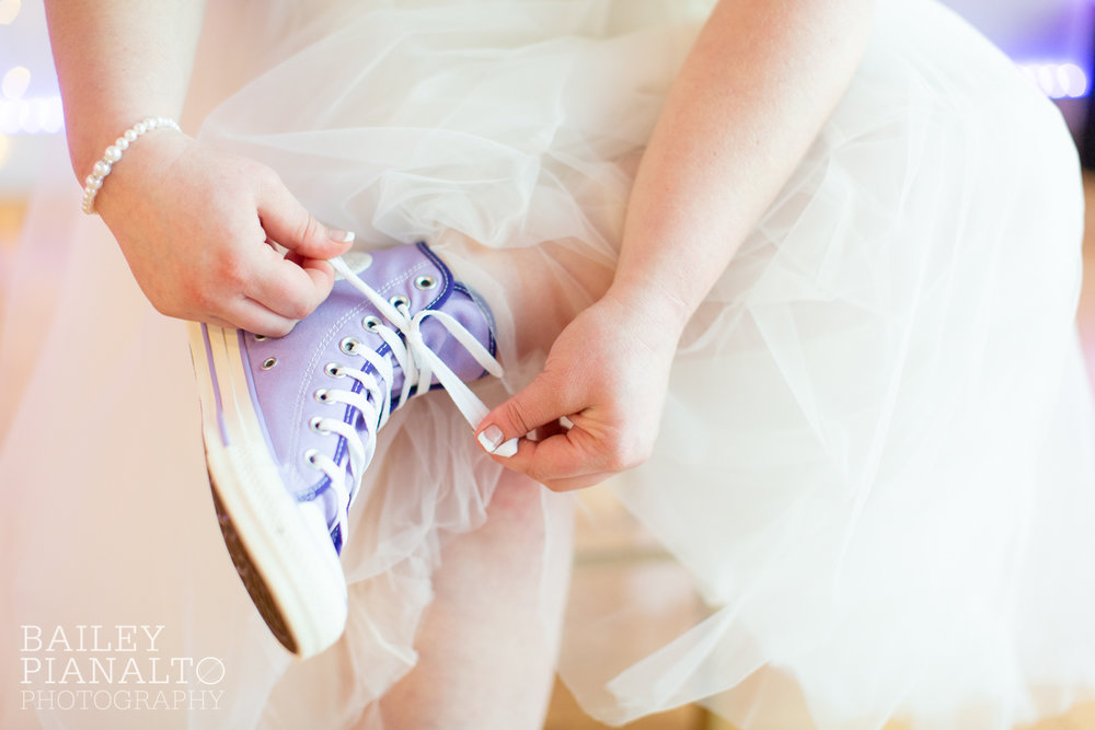 Bride Getting Ready at Purple & Gray Down-to-Earth Spring Wedding with Converse All Stars    Uptown Theater   Kansas City, MO