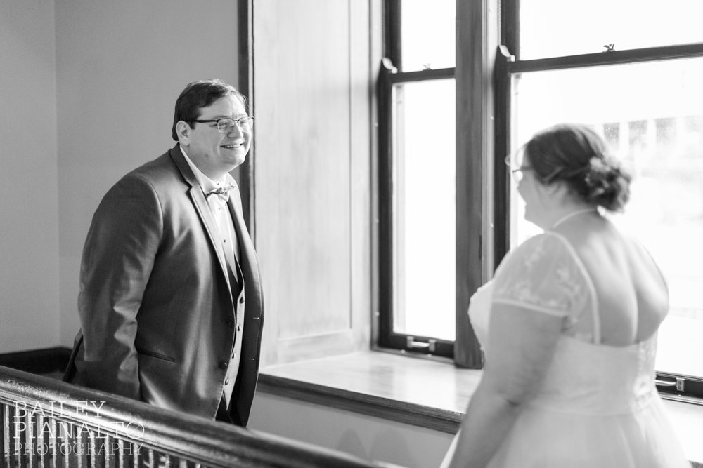 Bride & Groom First Look at Purple & Gray Down-to-Earth Spring Wedding    Union Station   Kansas City, MO