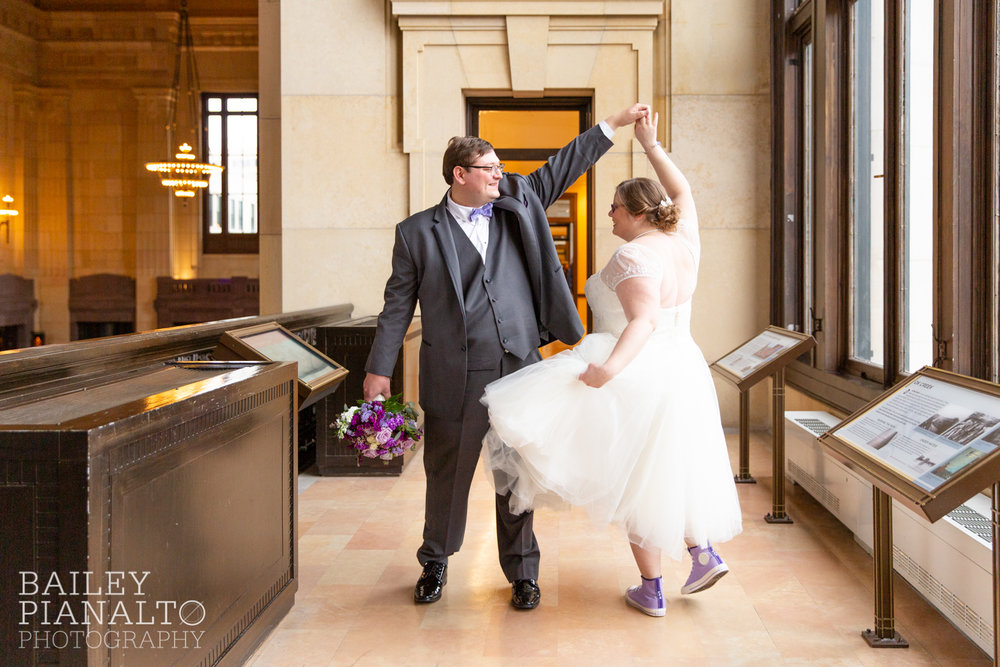 Bride & Groom Portraits at Purple & Gray Down-to-Earth Spring Wedding    Union Station   Kansas City, MO
