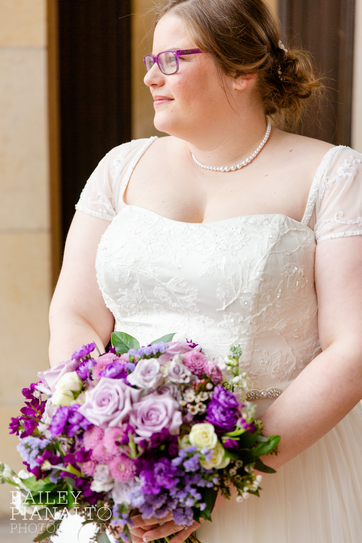 Bride Portraits at Purple & Gray Down-to-Earth Spring Wedding    Union Station   Kansas City, MO