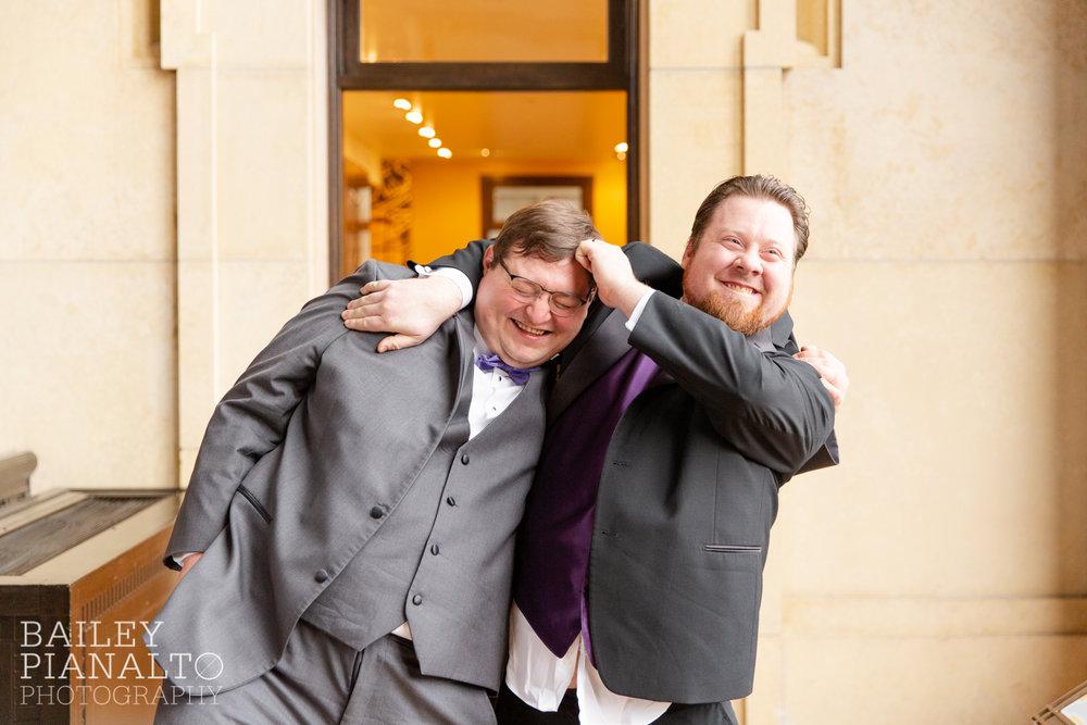 Groomsmen Portraits at Purple & Gray Down-to-Earth Spring Wedding    Union Station   Kansas City, MO