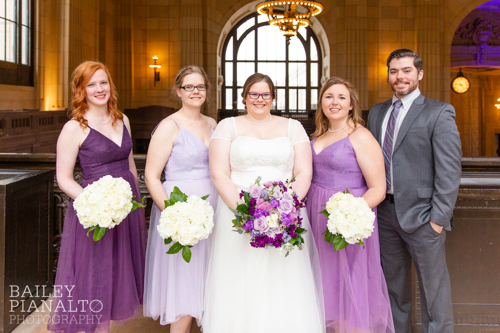 Bridesmaid Portraits at Purple & Gray Down-to-Earth Spring Wedding    Union Station   Kansas City, MO