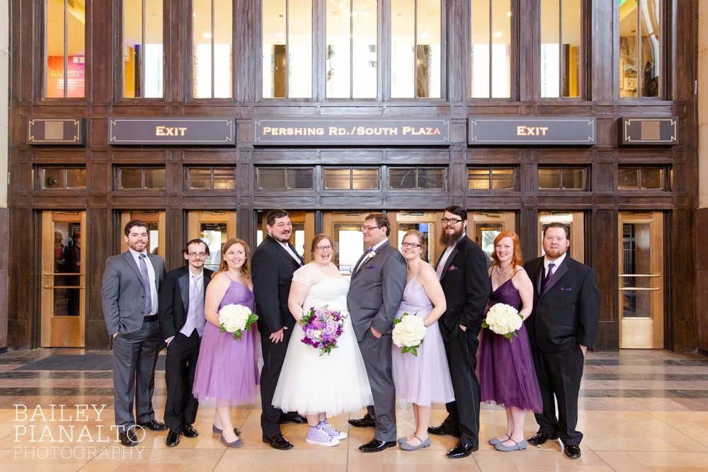 Wedding Party Portraits at Purple & Gray Down-to-Earth Spring Wedding    Union Station   Kansas City, MO
