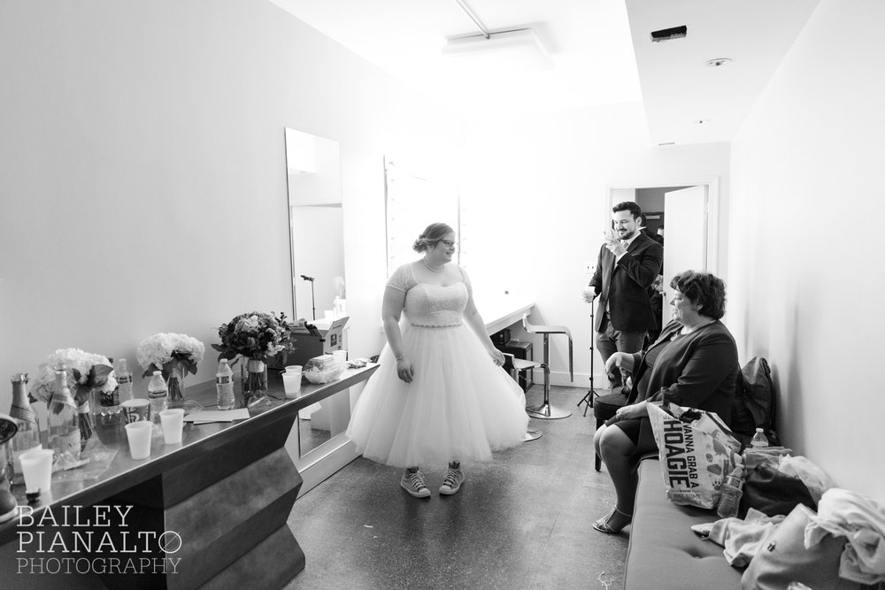 Pre-Ceremony Waiting at Purple & Gray Down-to-Earth Spring Wedding    Uptown Theater   Kansas City, MO