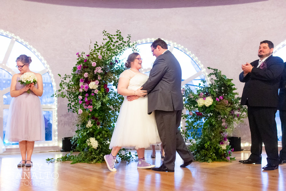 Wedding Ceremony at Purple & Gray Down-to-Earth Spring Wedding    Uptown Theater   Kansas City, MO