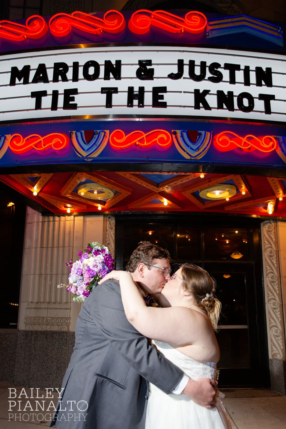 Wedding Reception at Purple & Gray Down-to-Earth Spring Wedding    Uptown Theater   Kansas City, MO