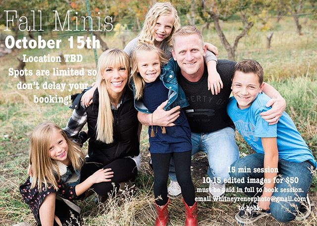 If you are in or near the Utah County area and want a quick update of your family picture, or just want one to send out for your Christmas cards....sign up for a mini session!  Details above.  Ps check out @sjanedevore awesome fam 🙌  #utahfamilyphotograopher #minisessions #fallsessions  #fall #nature #families #familyphotographer #business #photography #whitneyreneephoto @whitneyreneephoto