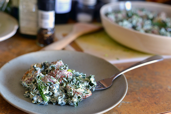 Roasted Potato and Kale Salad - Global Dish - Stephanie Arsenault