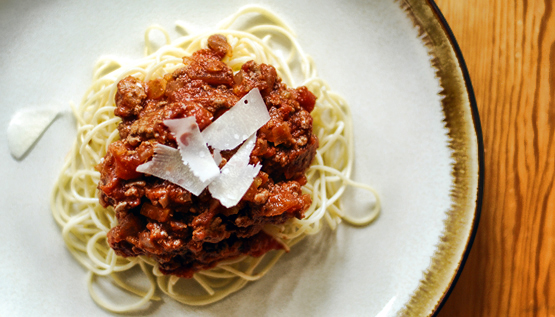 Spaghetti and Bolognese Sauce - Global Dish - Stephanie Arsenault