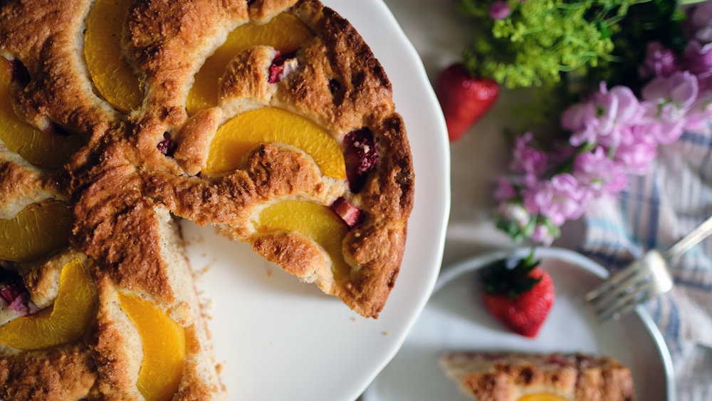 Strawberry-Peach Snacking Cake - Stephanie Arsenault - Global Dish