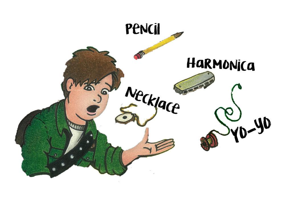 Find Stu's pencil, necklace, harmonica and Yo-yo.