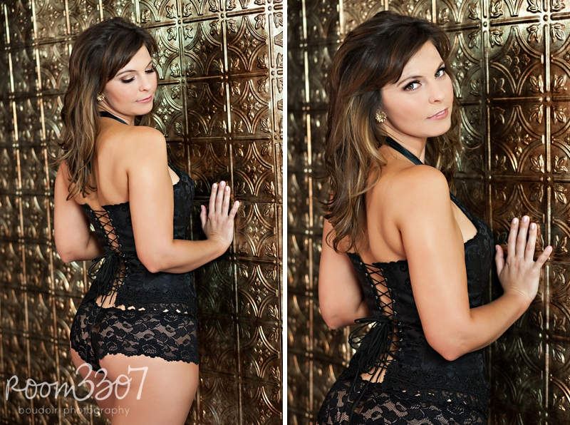 Sexy black and gold boudoir photo shoot, wearing black lace up corset in front of gold paneled wall. Bridal boudoir photo shoot by Room 3307 boudoir photography in Tampa
