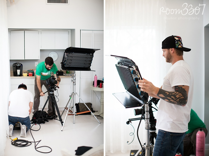 Bryan Coward of Lucky Lemon Films and Ryan Dillow of MAD Cannon Productions set up lighting and equipment for the Room 3307 boudoir photography promo video shoot.