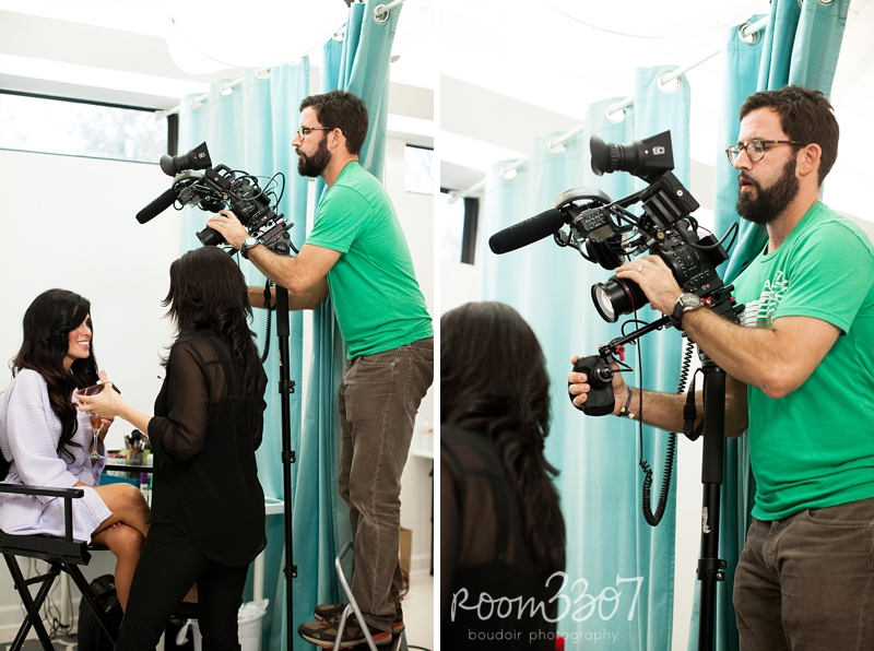 Bryan Coward of Lucky Lemon Films behind the scenes at a Room 3307 boudoir photography promo video shoot in Tampa, Florida