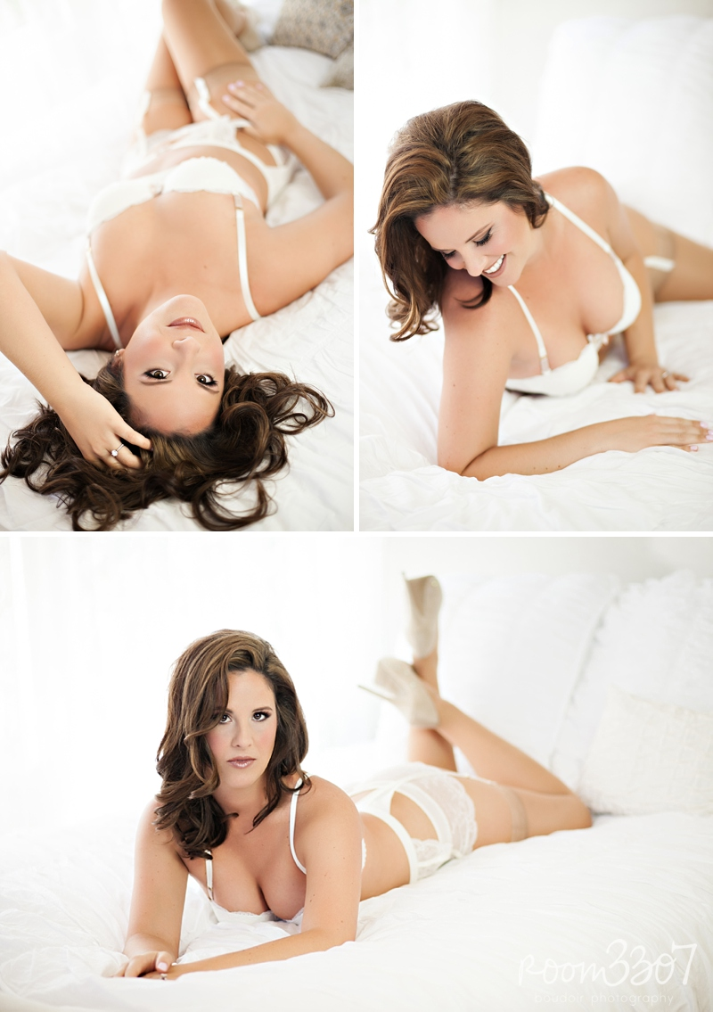 White lingerie on bed, sexy and natural boudoir photo shoot by Room 3307 in Tampa, FL. Hair and makeup by Jess Waldrop makeup artists.