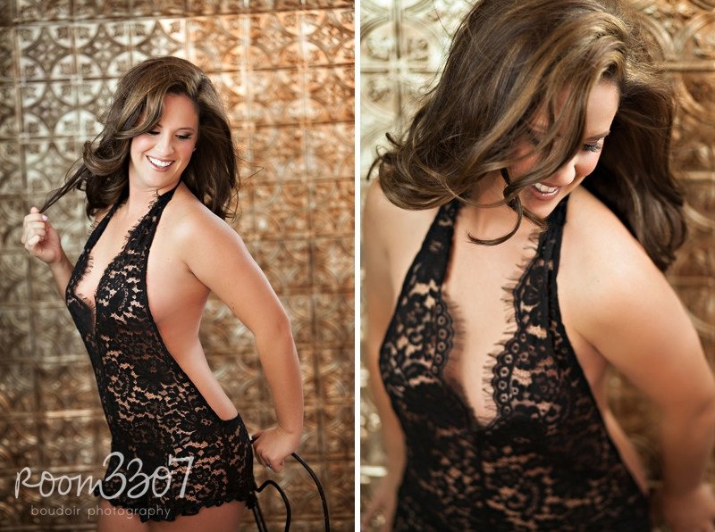 Gorgeous black lace Zinke romper, boudoir photo shoot in Tampa by Room 3307 boudoir photography, black and gold. Hair and makeup by Jess Waldrop makeup artists.