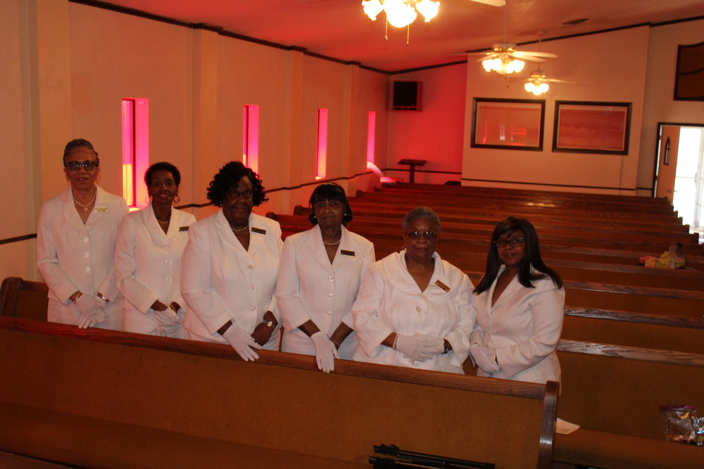 (L to R) Sis. Willie Crowder - President; Sis Brenda Banks; Sis Anne Chambers; Sis. Faye Davis;              Sis Ruby Daniels - Vice President; Sis. Yolonda Jackson - First Lady
