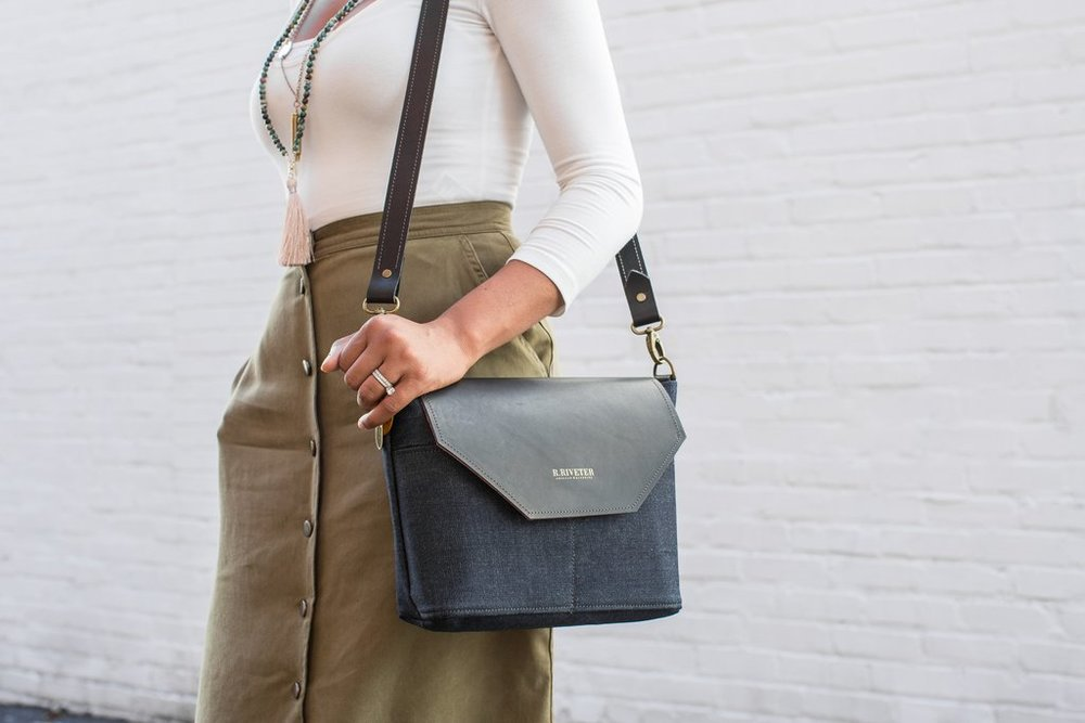 Shown: Hobby Bag in Signature Denim and Black, R. Riveter