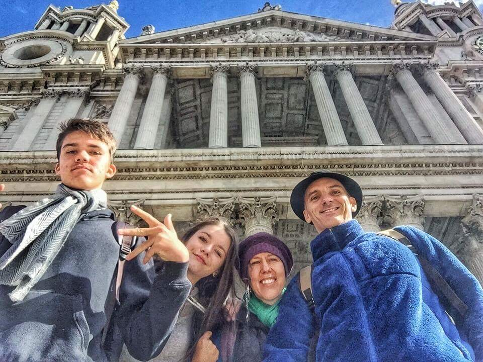 THE HOPE Family (KAI, devaki, GINA, AND Greg) traveling in London at St. Paul's Cathedral