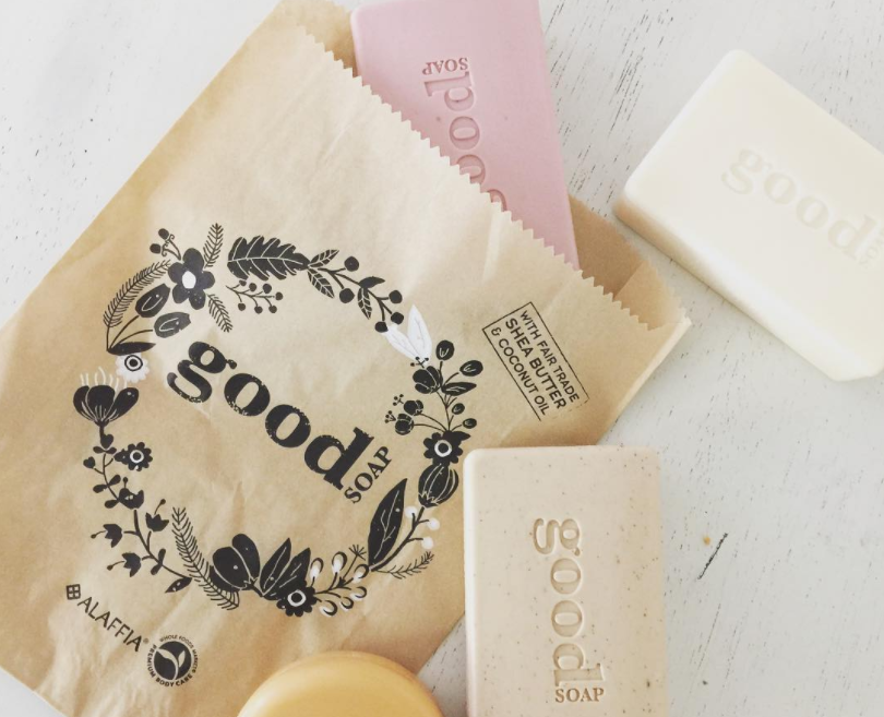 Triple milled and long-lasting Good Soap™ is available exclusively at Whole Foods Market. It is made with Ethically Traded unrefined shea butter and virgin coconut oil and enhanced with aromatic plant extracts. Good Soap™ is offered in 12 scents: Blackberry, Almond Milk, Peppermint, Cucumber, Wild Strawberry, Coconut, Lavender, Sunshine, Coconut Green Tea, Coconut Oatmeal, Coconut Papaya Mango, and Coconut Volcano. Hoenstly? It's kind of hard to choose!