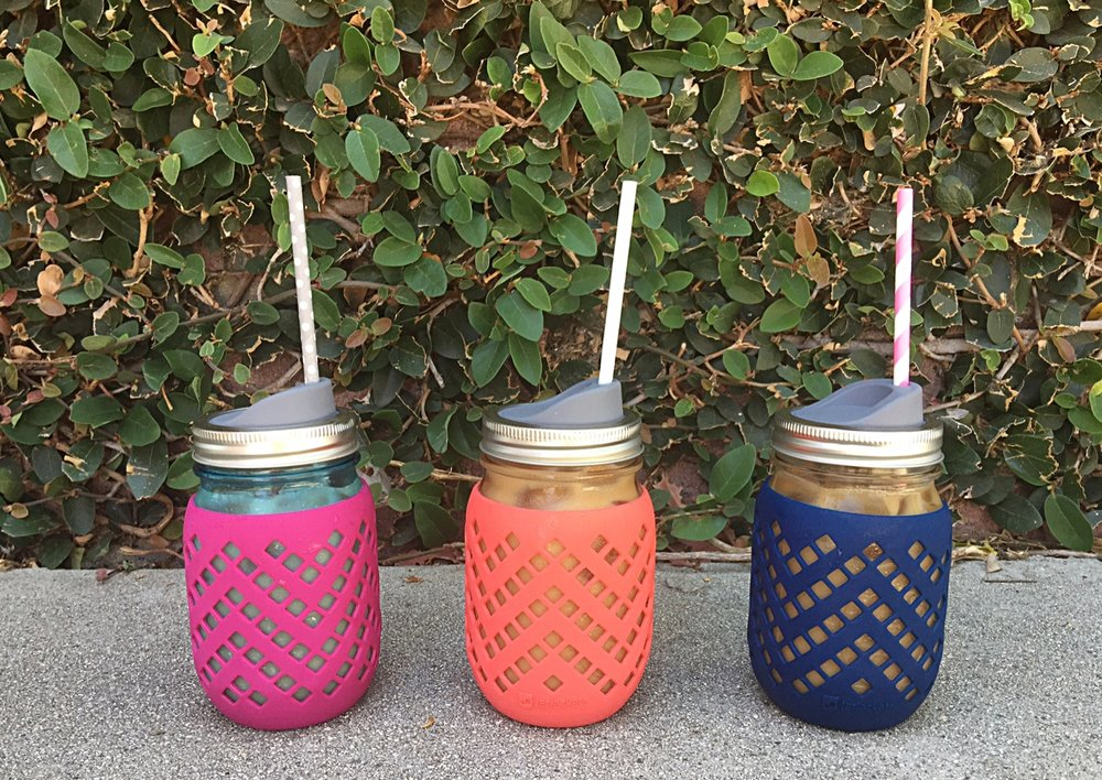 Silicone (which is naturally plastic free) jar sleeves from  Jar Jackets  (cool name : ) with mason jar sip lids from  Afresh Jar  with paper straws make for refreshing, plastic-free summer sipiin' fun!