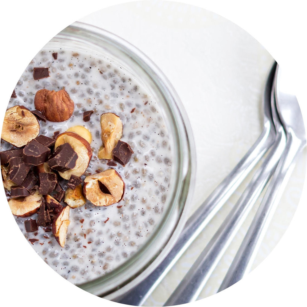 Chia Seed Pudding with Cacao Nibs and Hazelnuts