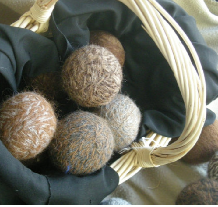HANDMADE.  The ALPACA dryer balls add natural softness to YOUR clothing leaving no chemicals behind. HUSBAND AND WIFE JOHN & GLORIA hand-spin the fiber from THEIR own animals. Each ball includes the names of the animal its fleece is from.  $20