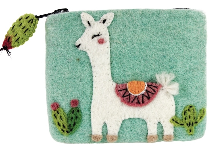 FAIR TRADE. HANDMADE.  You'll smile every time you see this happy llama's face! Hand-felted in Nepal by a women's cooperative. Lined inside and has a fun zip-fob shaped like a cactus. By  Fair Trade Winds .   $17.99