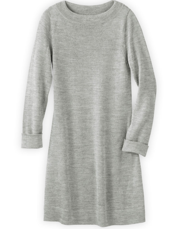 fair trade.  a true heirloom quality dress that you can feel great about wearing. soft-draping knit that's just the slightest bit sheer – the perfect layer of warmth over a cami and tights.  100% baby alpaca sweater knit  $139.90