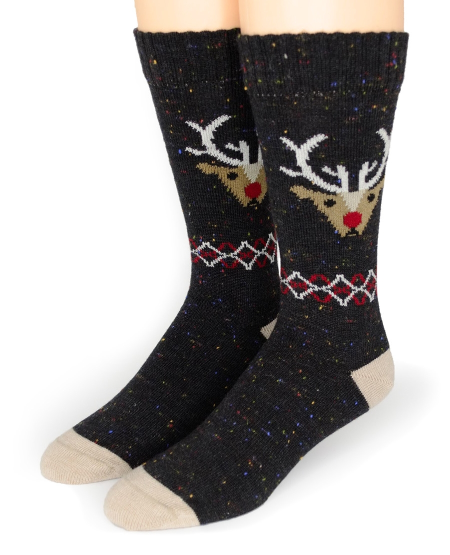 JUST PLAIN FUN ; )  This pair of alpaca blend reindeer socks is 100% warm and 100% festive! From  Sun Valley Alpaca Company .  $19.99