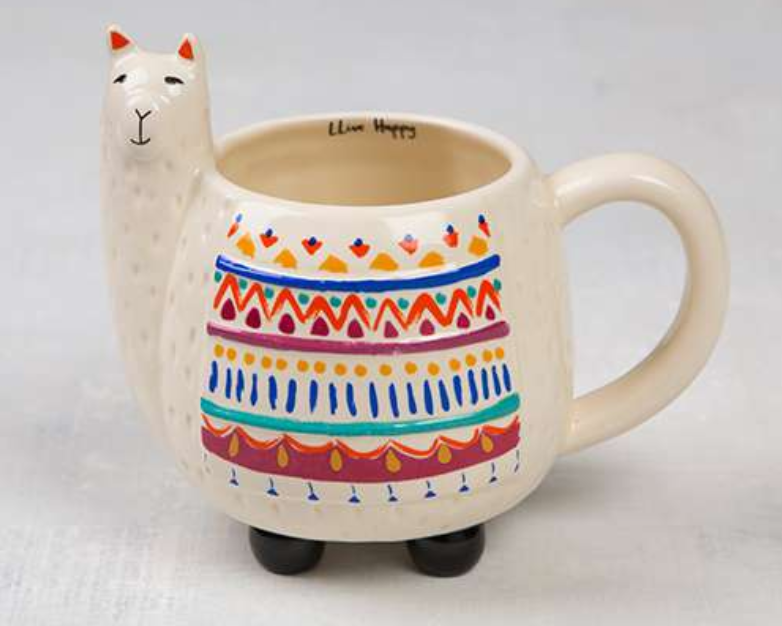 "gives back.  this lloveable llama scultped CERAMIC mug features a sweet face, colorful blanket, tiny little feet that it stands on and a sweet reminder to ""llive happY.  $17"