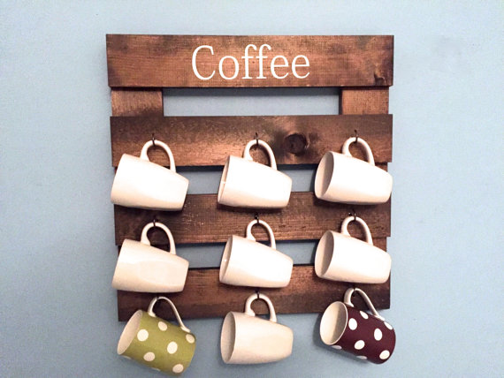 A coffee mug holder made out of reclaimed wood is a great wall-hanging, and gift.