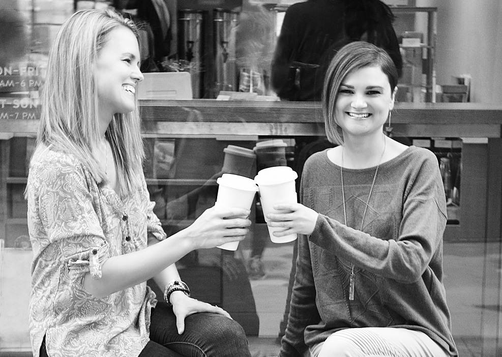 Caption: There's nothing like a cup of coffee with friends! Shown, L to R:  Heather Young, & Jennifer Klotz -  co-founders of SHE Changes Everything! Photo Credit: SHE