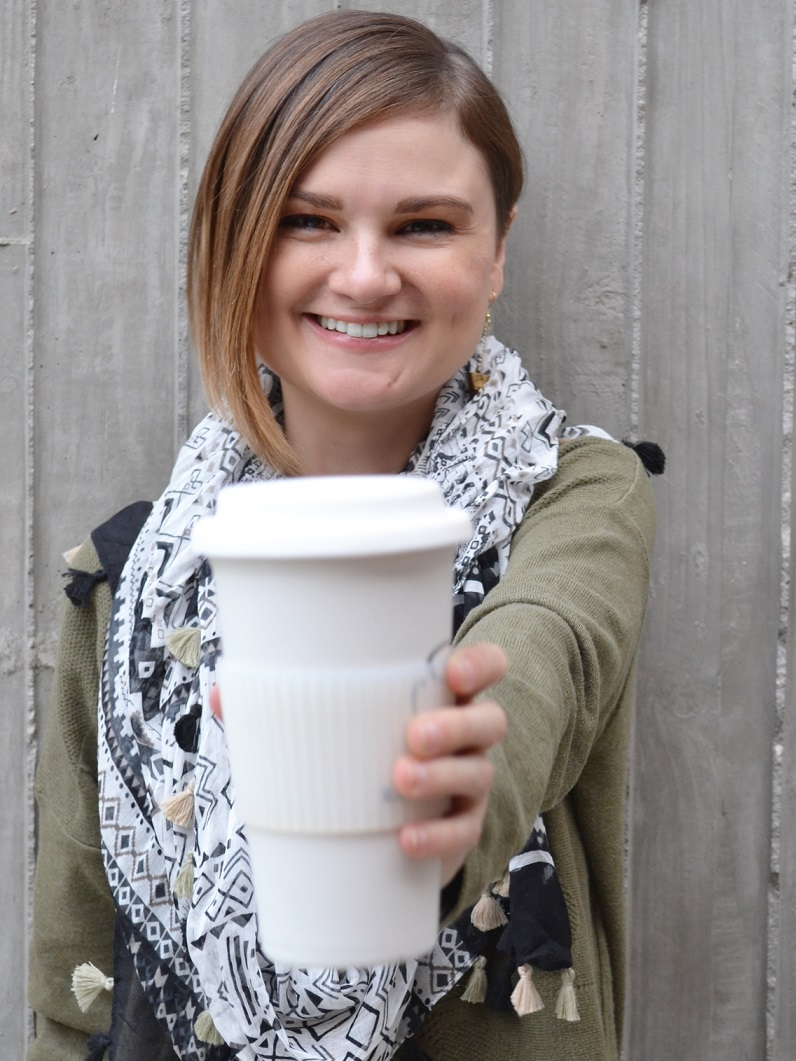 Cheers to reusable coffee cups! SHE CO-FOUNDER, Jennifer klotz, ms, rd, ldn - Photo credit: SHE chANGES EVERYTHING