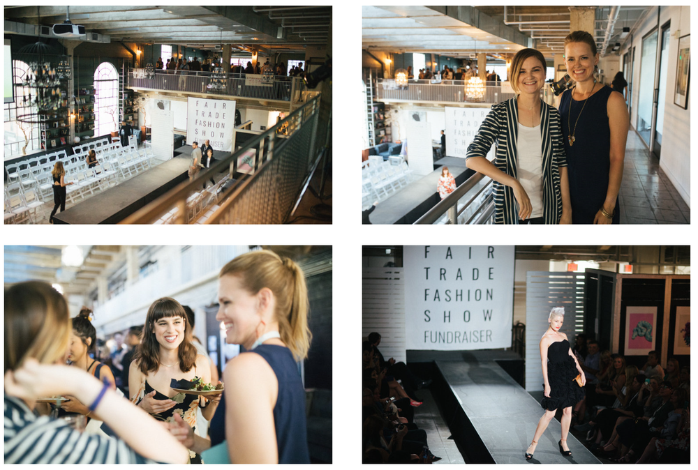 Block of Four Images of Heather Young and Jennifer Klotz at the 2018 Fair Trade Fashion Show! Read more at www.shechangeseverything.com.