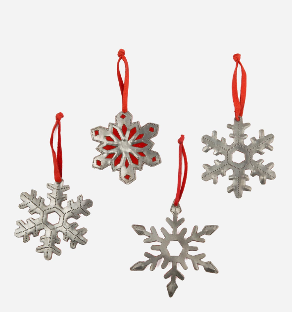 These classic, stunning snowflakes from Noonday are made from recycled steel drums! They are ethically made and sustainable!