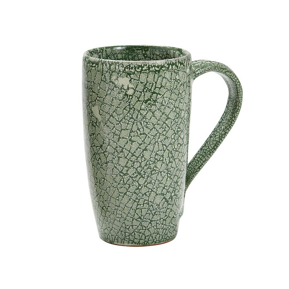 "This handmade ""Mottled Moss"" Mug from Ten Thousand Villages is ethically made by artisans in Nepal, cermaic, and goes perfectly with the red and white of a candy cane!"
